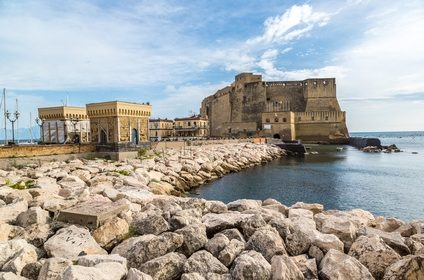 Castel dell'Ovo in a summer day in Naples, Italy